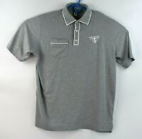 Footjoy Mens Size XL Polo Short Sleeve Solid Gray Shirt Three Button Embroidered