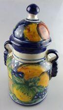 grand pot avec couvercle décor fruitier. peint main. Ht: 24cms diam. 12cms.