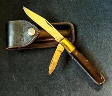 LARGE BULLET POCKET KNIFE W/ BUCK LEATHER CASE