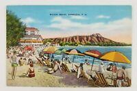 Postcard Linen Beach Bathers Waikki Beach Honolulu Hawaii