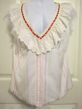 APRIL CORNELL Size M Blouse Lace Mesh Ribbon Ladies Shirt Top NWT