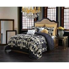 Queen Size Comforter Set 10-Piece Black Gold Damask Bedding Bedskirt Pillows New