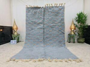 "Handmade Moroccan Beni Ourain Rug 5'2""x8'8"" Checkered Berber Gray Blue Wool Rug"