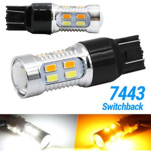 7443 7440 7444 LED Turn Signal Switchback White/Amber DRL Parking Light Bulbs
