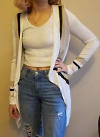INC Womens Ivory Knit Open Front Long Sleeves Cardigan Sweater Top Petite Medium