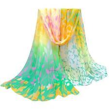 Women Silk Printed Scarves Girls Soft Chiffon Shawl Wrap Wraps Scarf Scarves UK