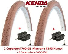 2 Copertoni Kenda 700x35 Kwest Marrone +2 Camere d'aria per bici 28 Single Speed
