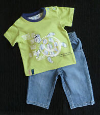 Baby clothes BOY 3-6m outfit M&S green turtle short sleeve t-shirt/George jeans