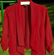 Stooshx True Red Unlined Point Front Jacket Blazer Top Sz M Gathered Sleeves