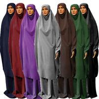 Muslim Burqa Jilbab Niqab Khimar Hijab Abaya 2pcs Maxi Dress Prayer Robe Islamic Ebay