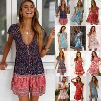Womens Boho Floral V Neck Tea Dress Summer Party Holiday Mini Dresses Sundress