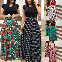 Womens Boho Floral Long Maxi Dress Ladies Summer Beach Short Sleeve Sundress