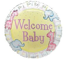 Welcome Baby Balloon 18 in Baby Shower Pink Blue Yellow Elephant Giraffe