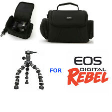 CAMERA CASE BAG +  FLEXIBLE TRIPOD FOR CANON EOS REBEL DSLR CAMERAS T3 T3I T5