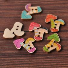 100pcs 28x28mm 2 Holes Mixed Mushroom Wooden Buttons Sewing Scrapbooking Craft