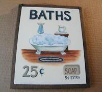 country vintage tub  BATHS 25C Bath Bathroom powder room wall decor wood sign