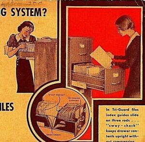 Vtg 1940s Advertising Ink Blotter Globe Wernicke Tri-Guard Files Office Seretary