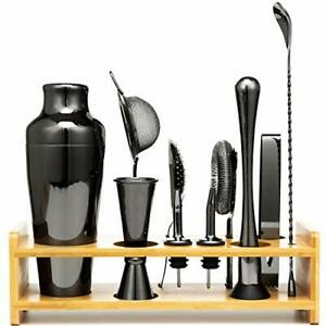 Jillmo Bartender Kit 11 Pieces Black Bar Set with Bamboo Stand
