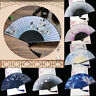 Vintage Chinese Hand Held Dance Folding Fan Silk Bamboo Flower Wedding Party UK