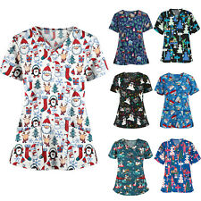 Medical Christmas Uniform Top Women Men Tunic Nurse Hospital Work Wear Tops
