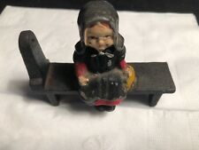 Vintage Cast Iron Amish Woman Seated On Bench Metal Art
