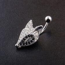 New Body Piercing Jewelry Crystal Rhinestone Fox Navel Ring Belly Button Bar