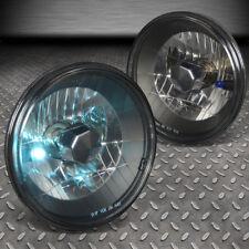 7x7 H6024 DIAMOND CUT ROUND BLACK CRYSTAL HOUSING HEADLIGHT+H4 BULBS+BLUE BEAMS