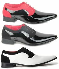 Mens Formal Lace up Genuine Leather Lining Patent Pointed Toe Wedding Shoes UK 8 Black