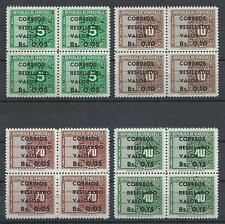 Venezuela 1950-58 Revenue with new value Resellado Valor blocks 4 MNH