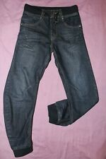 "104) Boys ETO blue twisted leg zipped fly's cuffed cotton jeans. W27""/L27.5"""