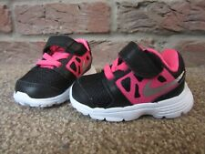 NEW UK 1.5 Baby Girls NIKE Trainers Black Pink Hard Sole EU 17 Hook Loop Laces