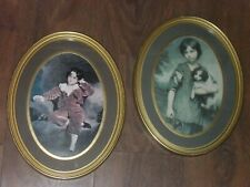 VINTAGE ANTIQUE STYLE PICTURES X 2 LARGE OVAL DETAILED GOLD FRAMES
