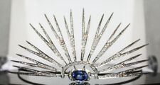 6.91ct ROSE CUT DIAMOND SAPPHIRE ANTIQUE VICTORIAN LOOK 925 SILVER HAIR TIARA