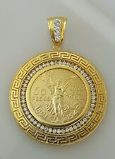 50 peso Mexican coin pendant / Versace frame with CZ stones