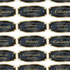 65 gold/schwarze Gewürzetiketten, Aufkleber, Etiketten, Gewürze, goldene Schrift