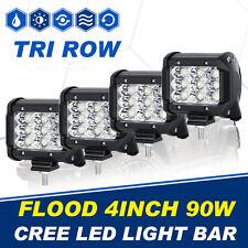 "HOT 4PCS Tri Row 90W 4"" CREE LED Work Light Flood OFFROAD Pickup 4WD ATV SUV 8D"