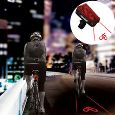 Laser Lane LED Bike Light Bicycle Safety Night Cycle Red Beam Lamp Rear Front