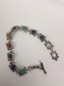 Carolyn Pollack Southwestern sterling Silver 925 Turtle Multi Stones  Bracelet