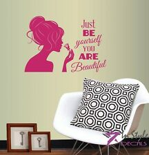 Vinyl Decal You Are Beautiful Quote Girl Woman with Rose Beauty Salon Shop 194