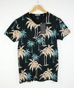 SCOTCH & SODA BEACH IN THE CITY Men ~MEDIUM Palms Patterns V-Neck T-Shirt 15863