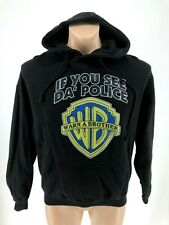 If You See Da Police Warn A Brother WB Black Hoodie Jacket Sweatshirt Mens S