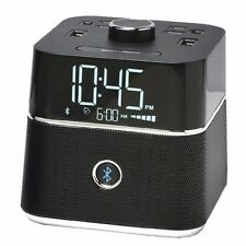 CubieTime Alarm Clock Charger w/ 2 USB Ports and 2 Outlets BLUETOOTH SPEAKERS