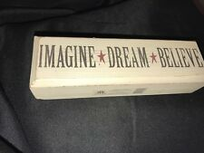 (1) Maison's Imagine Dream Believe Rustic Distressed Wooden Block Decor Sign