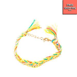 Chain & Braided String Bracelet Multicolour Rhinestones Adjustable Tassel Trim