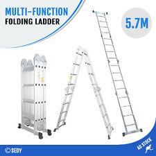 5.7m Folding Ladder Multipurpose Quality Aluminium Function Adjustable NEW STOCK