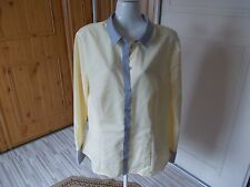 NEW ESMARA COTTON YELLOW AND GREY FITTED LONG SLEEVE BLOUSE SIZE 18
