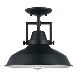 1-Light  Semi- Flush Mount 12 in. Black DC-C4927-12 by Monteaux Lighting