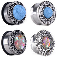 PAIR of Double Flared Tunnels Turquoise Centered Antique Tribal Shield Ear Plugs
