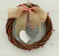 """8"""" Shabby Chic Wicker Willow Wreath with Hearts. Country Cottage Home Decor."""