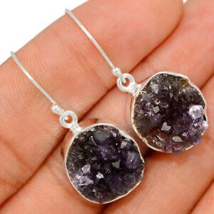 Amethyst Cluster Uruguay 925 Sterling Silver Earrings XGB Jewelry BE27586